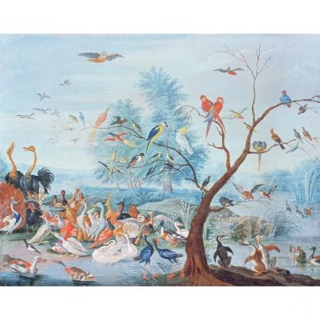 Panneau Tropical Birds • Papier Peint • AU FIL DES COULEURS • AZURA