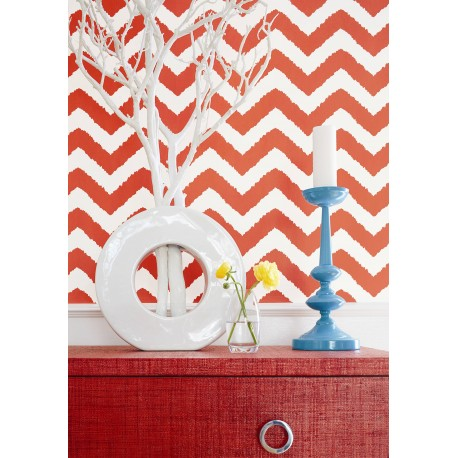 Windenor Chevron Coral-T35192 • Wallpaper • THIBAUT • AZURA