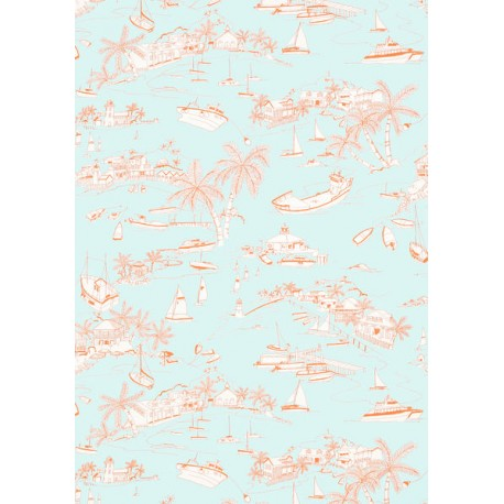 Bahamas Coral and Turquoise-T5755 • Wallpaper • THIBAUT • AZURA