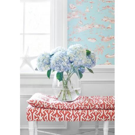 Bahamas Coral and Turquoise-T5755 • Papier Peint • THIBAUT • AZURA