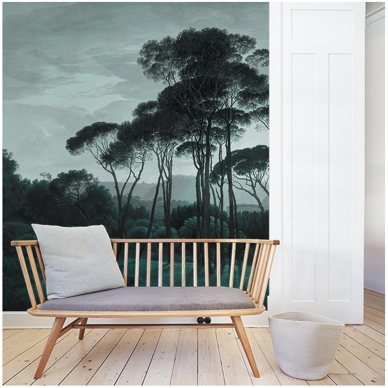 pine trees papier peint au fil des couleurs. Black Bedroom Furniture Sets. Home Design Ideas