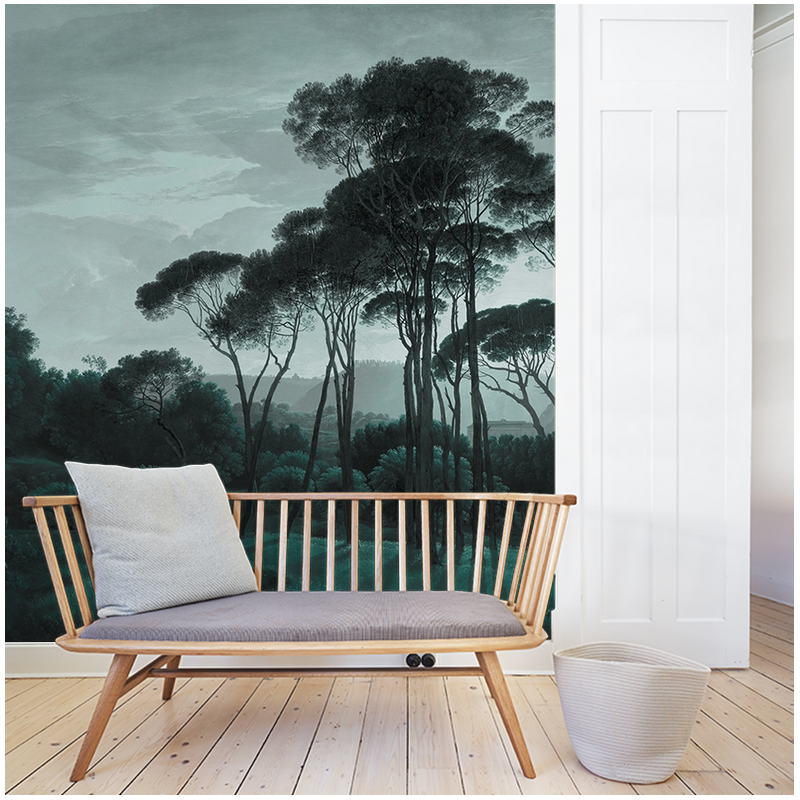 pine trees wallpaper au fil des couleurs. Black Bedroom Furniture Sets. Home Design Ideas